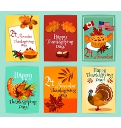 Thanksgiving day greeting cards set vector