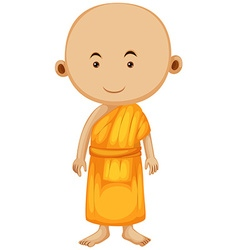 Buddhist monk standing alone vector