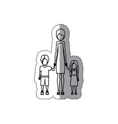 people woman with her children icon vector image