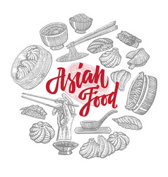 Sketch asian food elements round composition vector
