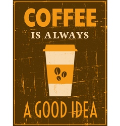 Grungy coffee poster vector