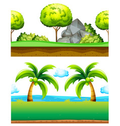 Two scenes of green garden vector