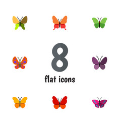 Flat monarch set of butterfly monarch archippus vector