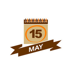 15 may calendar with ribbon vector