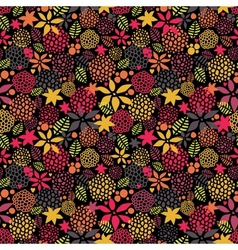 Cute night flowers seamless pattern vector