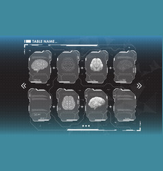 Set of hud infographic panels with brain head-up vector