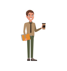 Business man employee holding coffee cup and vector