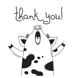 With joyful piggy who says - thank vector