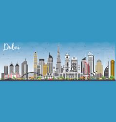 Dubai uae skyline with gray buildings and blue sky vector