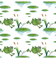 Seamless design with frogs at the pond vector