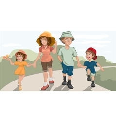 Family walk in the park vector