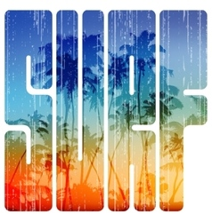 Summer surf retro letters with beach view inside vector