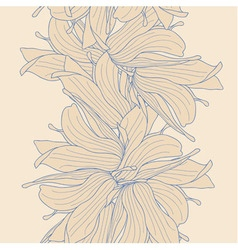 Seamless border made of magnolia flowers vector