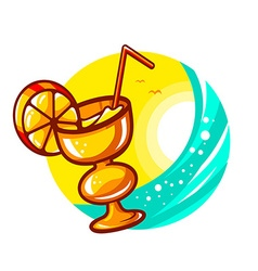 Colorful yellow cocktail glass on sunny s vector