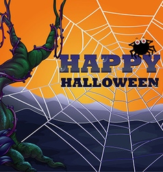 Halloween theme with spider web vector