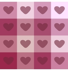 Red hearts on a plaid background vintage seamless vector