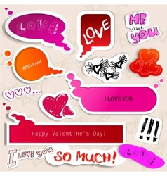 Colorful paper bubble for speech valentines day vector