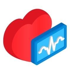 Cardiology heart 3d isometric icon vector