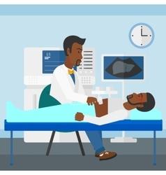 Patient under ultrasound examination vector image
