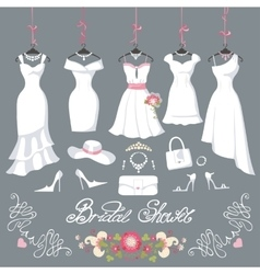 Bridal dresses hang on ribbonsfashion accessories vector