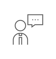 Man with speech square line icon vector