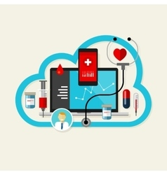 Online cloud medical health internet medication vector