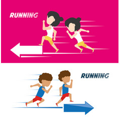 Athletes with running shoes sport competition vector