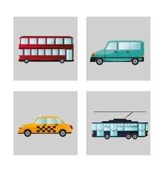 Car tram taxi and bus design vector