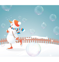 Christmas snowman and bubbles vector image