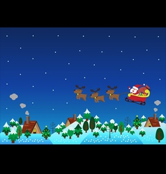 Christmas theme santa claus reindeer over hills vector