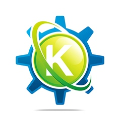 circle globe gear letter k green abstract vector image vector image
