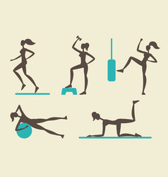 Collection of female fitness silhouettes vector