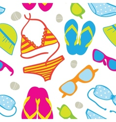 Cute summer vacations seamless background vector image