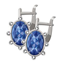 Earrings with diamonds icon cartoon style vector