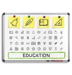 Education hand drawing line icons vector