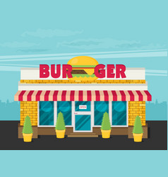 Facade of burger shop flat vector