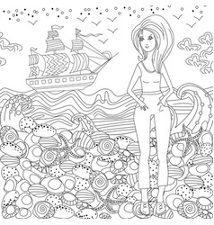 fashion young woman for coloring book vector image