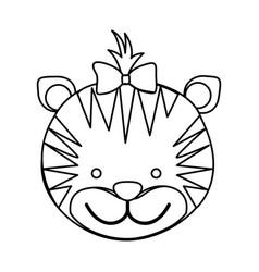 figure face tiger ribbon bow head icon vector image vector image