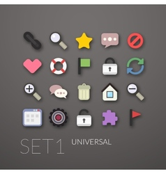 Flat icons set 1 vector image