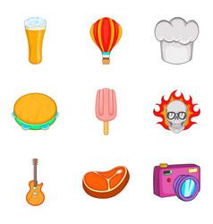 Food festival icon set cartoon style vector