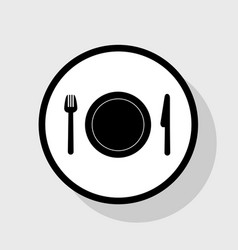 Fork plate and knife flat black icon in vector
