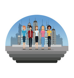 group female standing in the city vector image