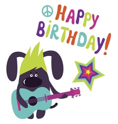 Happy birthday card with dog guitarist vector