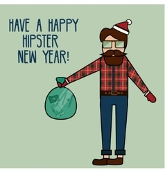 Happy new year greeting card with modern young man vector