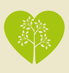 heart with leafs plant vector image