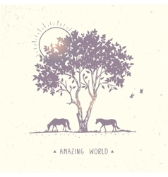 horse nature tree vector image vector image