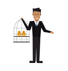 Man holding a cage with bird veterinary concept vector