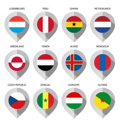 Marker from paper with flag for map - set fifth vector