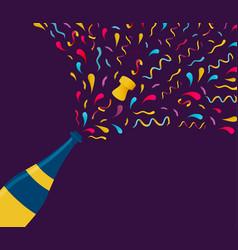 new year color champagne bottle splash card vector image vector image
