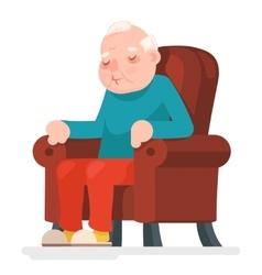 Old man character sit sleep armchair adult icon vector